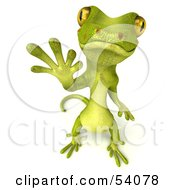 Royalty Free RF Clipart Illustration Of A 3d Gecko Character Standing And Waving Version 2
