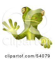 Royalty Free RF Clipart Illustration Of A 3d Gecko Character Waving And Standing Behind A Blank Sign Pose 1
