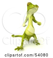 Royalty Free RF Clipart Illustration Of A 3d Gecko Character Standing And Looking Upwards