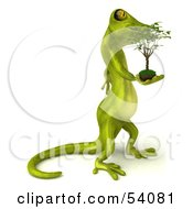 Royalty Free RF Clipart Illustration Of A 3d Gecko Character Carrying A Plant Version 2
