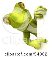 Royalty Free RF Clipart Illustration Of A 3d Gecko Character Looking Around And Pointing At A Blank Sign