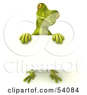 Royalty Free RF Clipart Illustration Of A 3d Gecko Character Holding A Blank Sign Pose 3