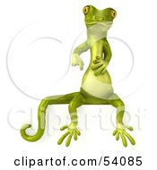Royalty Free RF Clipart Illustration Of A 3d Gecko Character Sitting On And Pointing Down At A Blank Sign