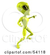 Royalty Free RF Clipart Illustration Of A 3d Green Alien Being Dancing Pose 5