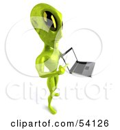 Royalty Free RF Clipart Illustration Of A 3d Green Alien Being Presenting A Laptop Pose 5 by Julos