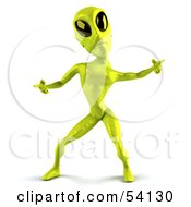 Royalty Free RF Clipart Illustration Of A 3d Green Alien Being Dancing Pose 2 by Julos