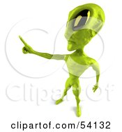Royalty Free RF Clipart Illustration Of A 3d Green Alien Being Holding Out One Finger