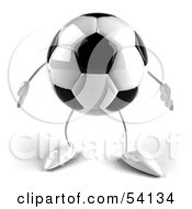 Royalty Free RF Clipart Illustration Of A 3d Soccer Ball With Arms And Legs Facing Front by Julos