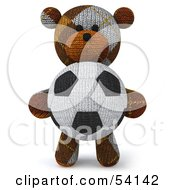 Royalty Free RF Clipart Illustration Of A 3d Sock Teddy Bear Character Holding A Soccer Ball Pose 1