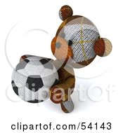 3d Sock Teddy Bear Character Holding A Soccer Ball Pose 4