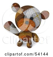 3d Sock Teddy Bear Character Looking Up And Waving