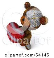 3d Sock Teddy Bear Character Holding A Stuffed Heart Pose 4
