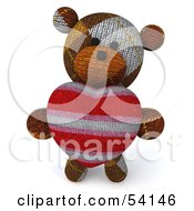 3d Sock Teddy Bear Character Holding A Stuffed Heart Pose 3