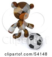 Royalty Free RF Clipart Illustration Of A 3d Sock Teddy Bear Character Kicking A Soccer Ball Pose 2