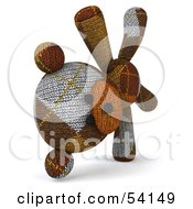 Royalty Free RF Clipart Illustration Of A 3d Sock Teddy Bear Character Doing A Cartwheel Version 2