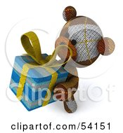 3d Sock Teddy Bear Character Holding A Gift Pose 4