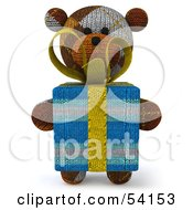 3d Sock Teddy Bear Character Holding A Gift Pose 1