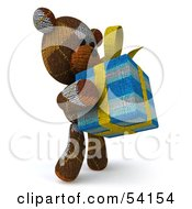 3d Sock Teddy Bear Character Holding A Gift Pose 2