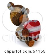 3d Sock Teddy Bear Character Holding A Stuffed Heart Pose 5