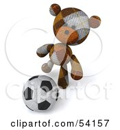 Royalty Free RF Clipart Illustration Of A 3d Sock Teddy Bear Character Kicking A Soccer Ball Pose 1
