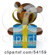 3d Sock Teddy Bear Character Holding A Gift Pose 3