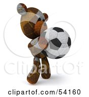 3d Sock Teddy Bear Character Holding A Soccer Ball Pose 2