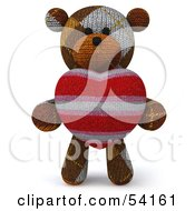 3d Sock Teddy Bear Character Holding A Stuffed Heart Pose 1