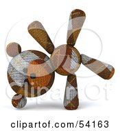 Royalty Free RF Clipart Illustration Of A 3d Sock Teddy Bear Character Doing A Cartwheel Version 1