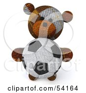 3d Sock Teddy Bear Character Holding A Soccer Ball Pose 3