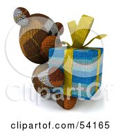 3d Sock Teddy Bear Character Holding A Gift Pose 5