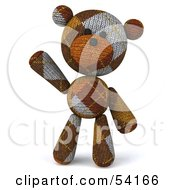 Royalty Free RF Clipart Illustration Of A 3d Sock Teddy Bear Character Facing Front And Waving