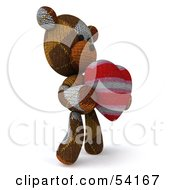 3d Sock Teddy Bear Character Holding A Stuffed Heart Pose 2