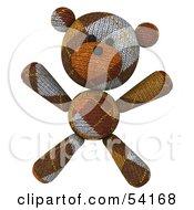 Royalty Free RF Clipart Illustration Of A 3d Sock Teddy Bear Character Facing Forward And Doing Jumping Jacks