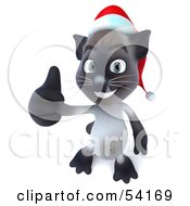 3d Siamese Pussy Cat Character Wearing A Santa Hat And Giving The Thumbs Up Pose 3