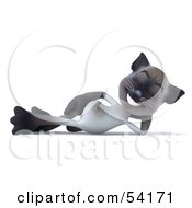 3d Siamese Pussy Cat Character Resting On His Side