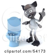 3d Siamese Pussy Cat Character Standing By A Blue Toilet - Pose 2