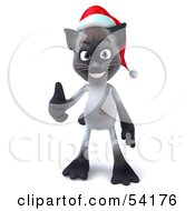 3d Siamese Pussy Cat Character Wearing A Santa Hat And Giving The Thumbs Up Pose 1