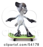 Royalty Free RF Clipart Illustration Of A 3d Siamese Pussy Cat Character Skateboarding Pose 1