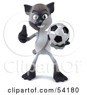 Royalty Free RF Clipart Illustration Of A 3d Siamese Pussy Cat Character Playing Soccer Pose 1