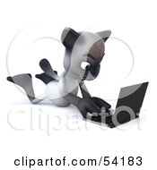 Royalty Free RF Clipart Illustration Of A 3d Siamese Pussy Cat Character Laying On His Belly And Using A Laptop Pose 3