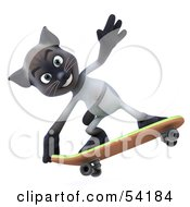 Royalty Free RF Clipart Illustration Of A 3d Siamese Pussy Cat Character Skateboarding Pose 4