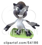 Royalty Free RF Clipart Illustration Of A 3d Siamese Pussy Cat Character Skateboarding Pose 3