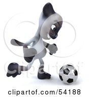 Royalty Free RF Clipart Illustration Of A 3d Siamese Pussy Cat Character Playing Soccer Pose 2