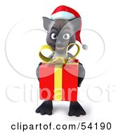 Royalty Free RF Clipart Illustration Of A 3d Siamese Pussy Cat Character In A Santa Hat Carrying A Gift Pose 3