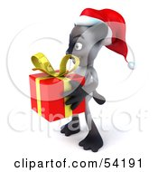 Royalty Free RF Clipart Illustration Of A 3d Siamese Pussy Cat Character In A Santa Hat Carrying A Gift Pose 4