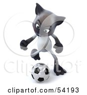 Royalty Free RF Clipart Illustration Of A 3d Siamese Pussy Cat Character Playing Soccer Pose 3
