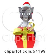 Royalty Free RF Clipart Illustration Of A 3d Siamese Pussy Cat Character In A Santa Hat Carrying A Gift Pose 2