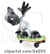 Royalty Free RF Clipart Illustration Of A 3d Siamese Pussy Cat Character Skateboarding Pose 5