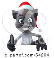 Royalty Free RF Clipart Illustration Of A 3d Christmas Siamese Pussy Cat Character Giving The Thumbs Up And Standing Behind A Blank Sign