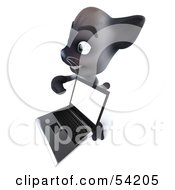 Royalty Free RF Clipart Illustration Of A 3d Siamese Pussy Cat Character Holding A Laptop Pose 5